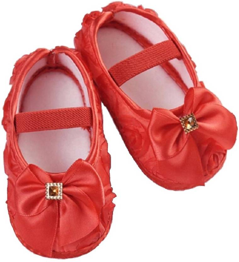 4a1af387eab Ziory Red Autumn Butterfly-knot Flower Princess Infant Soft Slip-On Kid  First Walkers Shoes for baby girls (8-12 months) Booties (Toe to Heel  Length - 12 cm ...
