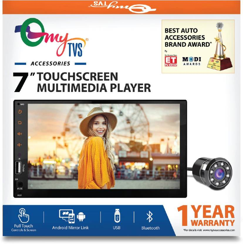 myTVS Car Audio Video Full Touch Screen Stereo FullHD With MP3/MP5/USB  Player & Mirror Link + 8 Led Night Vision Camera Car Stereo