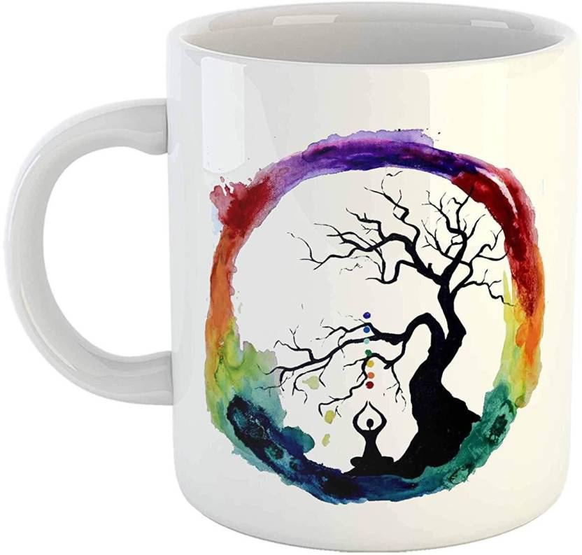 25d2c384096 iKraft Funny Yoga Tea Cup - 11oz Yogi CoffeeMug - Yoga Lover Gift Printed  Cute Tea Cup Buddha - Yoga Teacher Gift Ceramic Mug (300 ml)