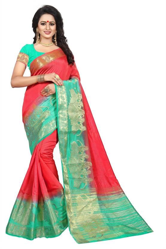 50738b981a Buy Cartyshop Woven Fashion Banarasi Silk, Tussar Silk Red Sarees ...