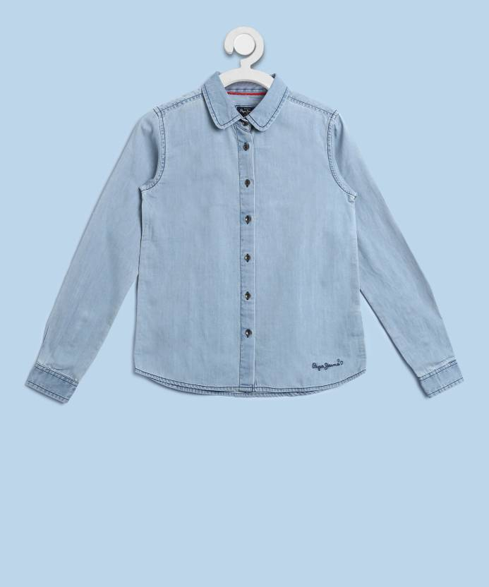 a6c2e76c9f1 Pepe Jeans Girls Solid Casual Light Blue Shirt - Buy BLUE Pepe Jeans Girls  Solid Casual Light Blue Shirt Online at Best Prices in India