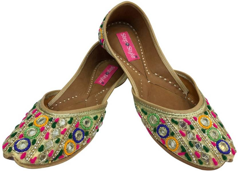 2713517de Step N Style Traditional Handmade Women Shoes Indian Mojari Leather Flip-Flops  Juti DD997 Jutis