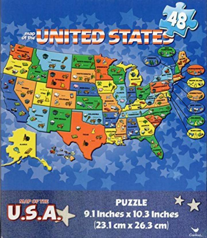 Cardinal Games USA Map 48 Piece Puzzle - Educational Map of The ...
