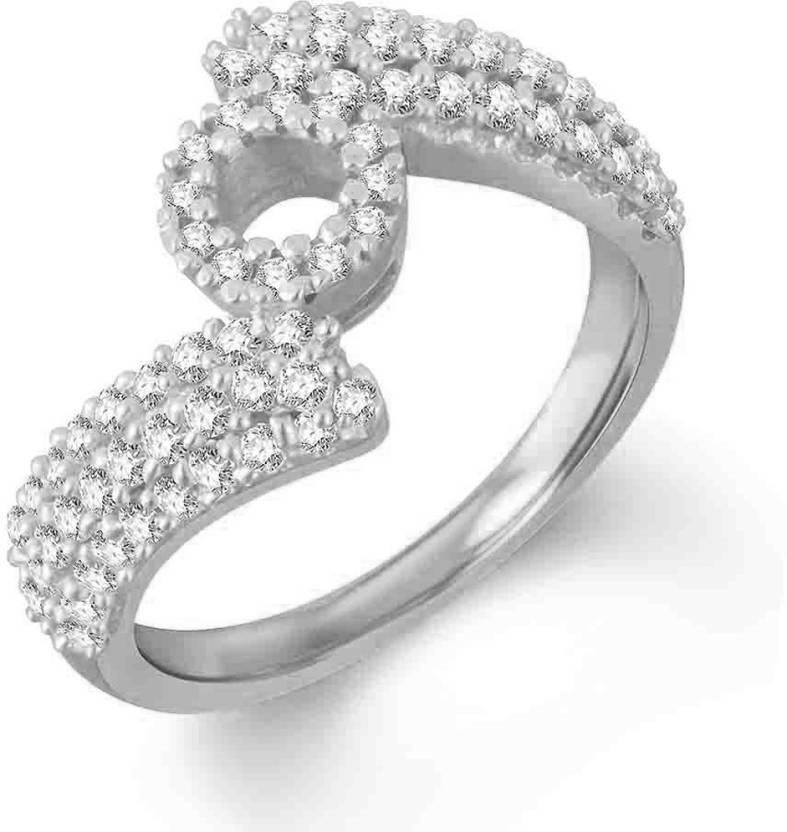 SilverDew O Letter Design Diamond Ring For Women's And Girls