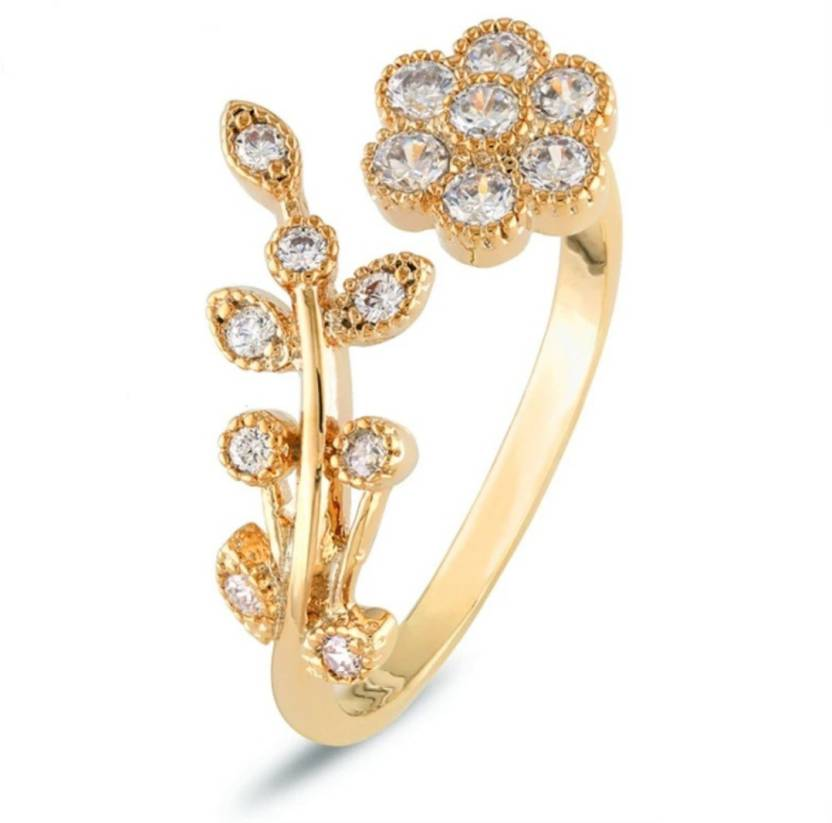 Daluci Gold Plate Flower Ring For Vintage Metal Gold Color Womens