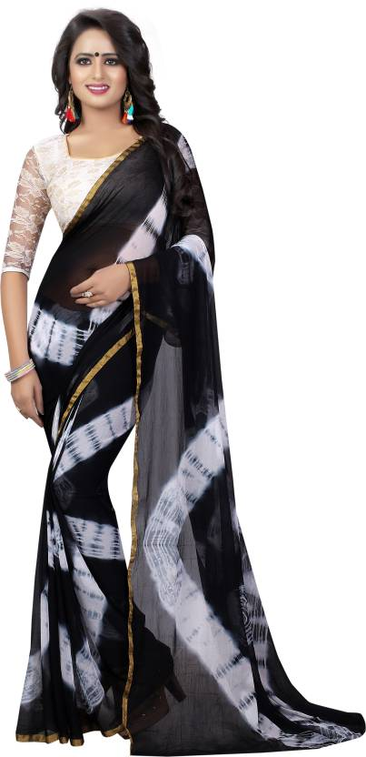 f95011989a40f9 Buy Yashika Printed Daily Wear Chiffon Black, White Sarees Online ...