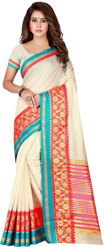 2cc5da0777 Buy Villagius Printed Kerala Cotton Silk White Sarees Online @ Best ...