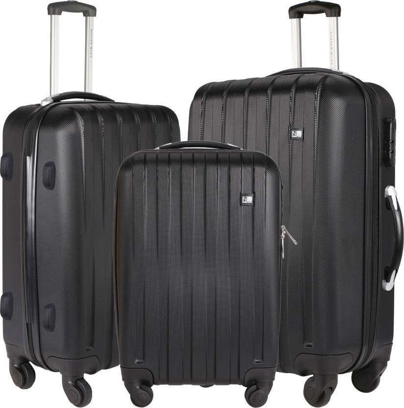 bbbfe2d057ae Nasher Miles Zurich Black Abs Hard Luggage Set Of 3 Trolley/Travel ...