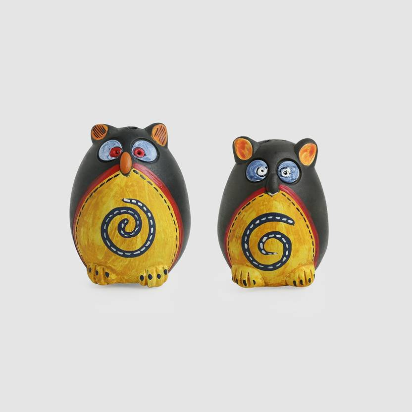 Exclusivelane Small Twin Owl Shaped Dining Table Top Decorative Pepper Dispenser 2 Piece Salt Set Pottery
