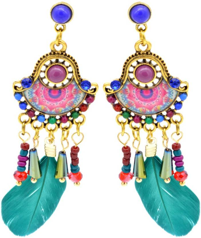 6db0b87ad KIYARA Kiyara Accessories Colourful crystal enamel and meena earrings with  feathers and beads in golden antique