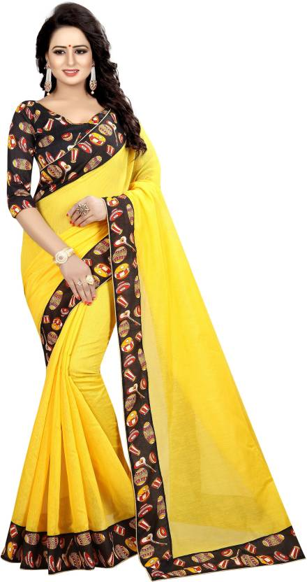949e13a206706b Winza Designer Digital Prints Chanderi Cotton Saree (Yellow, Black)