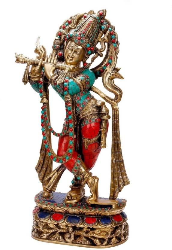 c76335772ff Collectible India Large Brass Krishna Idol Hindu God Gemstone Work Krishan  Murti Decorative Showpiece - 55 cm (Brass