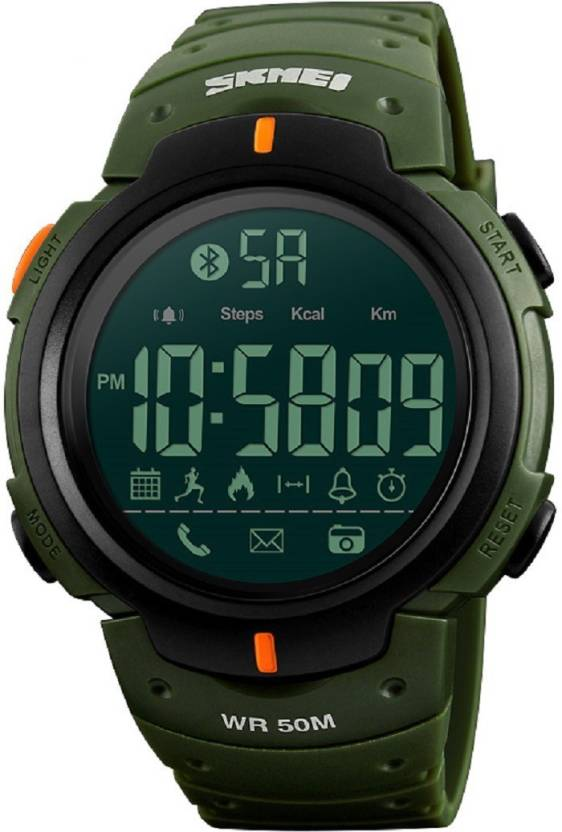 Skmei 1301 Green Pedometer Calorie count Bluetooth Digital Smartwatch (Green Strap Free Size)