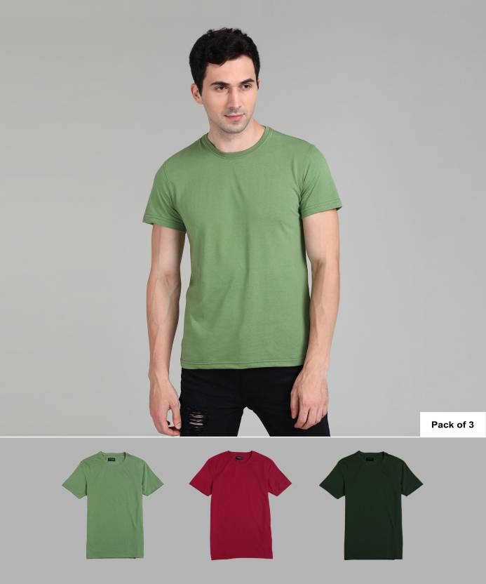 8e906e56cf4 Peter England Solid Men s Round Neck Multicolor T-Shirt - Buy Peter ...