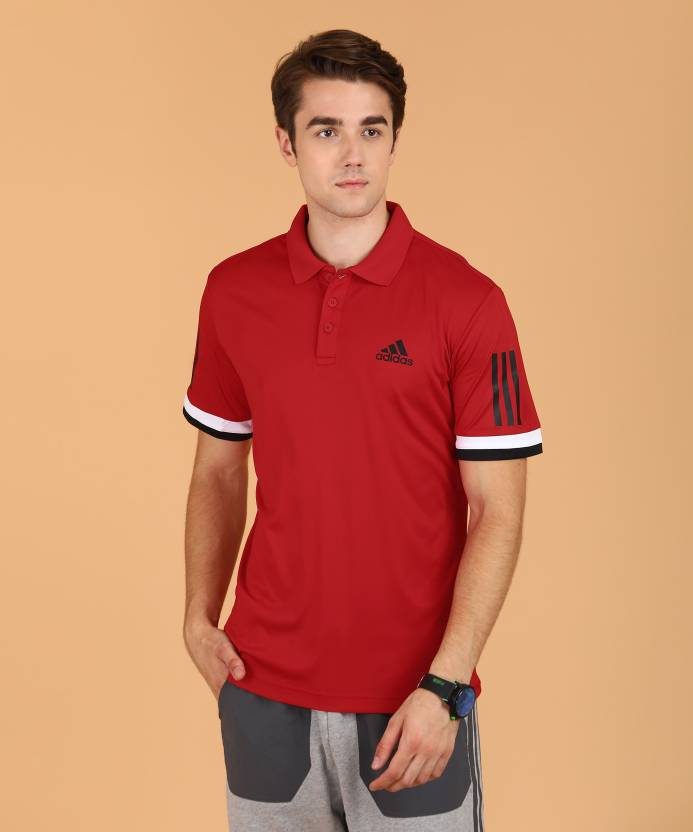 ad8ef469 ADIDAS Solid Men Polo Neck Red T-Shirt - Buy ADIDAS Solid Men Polo Neck Red  T-Shirt Online at Best Prices in India | Flipkart.com