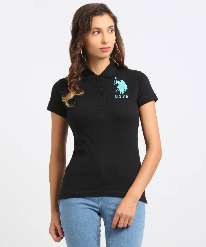 7a89cca31ec U.S. Polo Assn Solid Women's Polo Neck Black T-Shirt - Buy BLACK U.S. Polo  Assn Solid Women's Polo Neck Black T-Shirt Online at Best Prices in India  ...