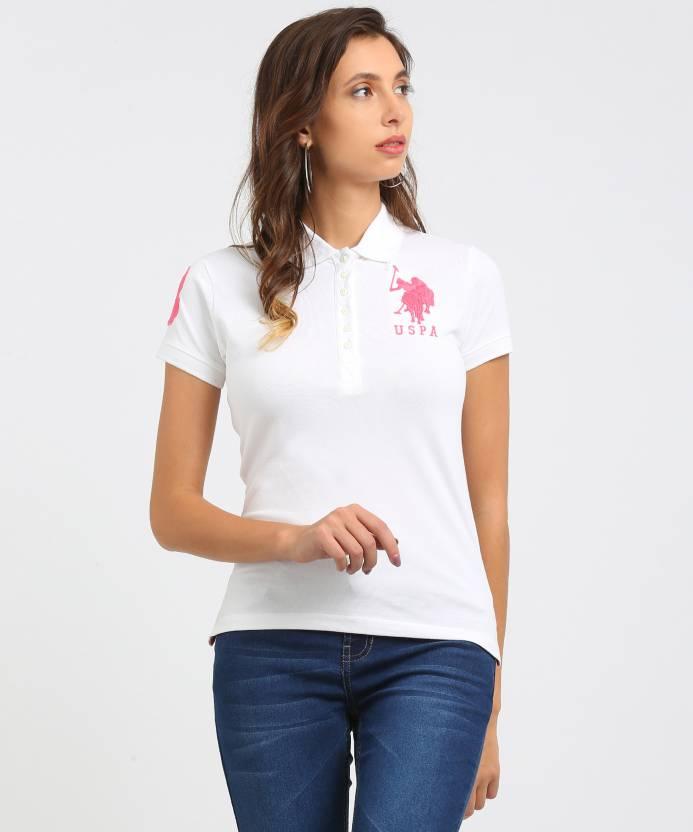 U S Polo Assn Solid Women S Polo Neck White T Shirt Buy White