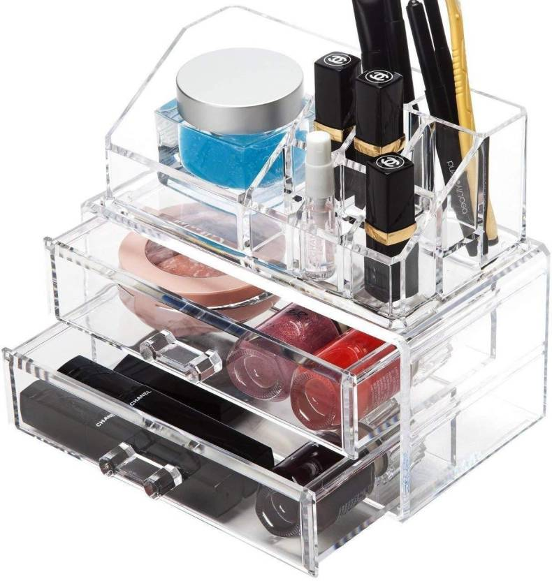Generic 2 Acrylic Clear Makeup Box Only Box Case And No Makeup
