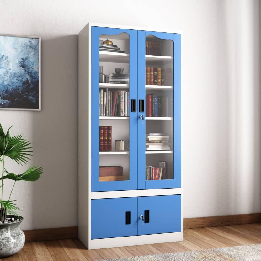 Woodness Cameron Metal Close Book Shelf (Finish Color - Dual Tone Blue  White) 9f37656dc1b4