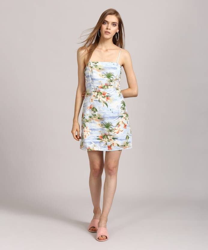d0a26a8caeb Forever 21 Women s A-line Blue Dress - Buy IVORY BLUE GREEN Forever 21  Women s A-line Blue Dress Online at Best Prices in India