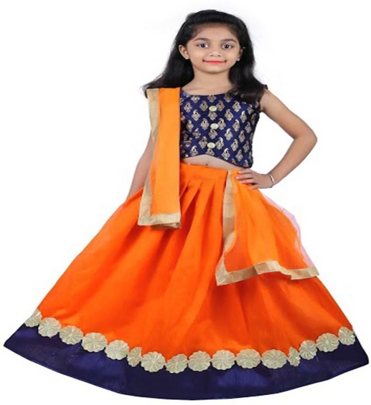 8295a4dc11 NAJARA FASHION Girls Lehenga Choli Ethnic Wear Embroidered Lehenga, Choli  and Dupatta Set (Orange, Pack of 1)