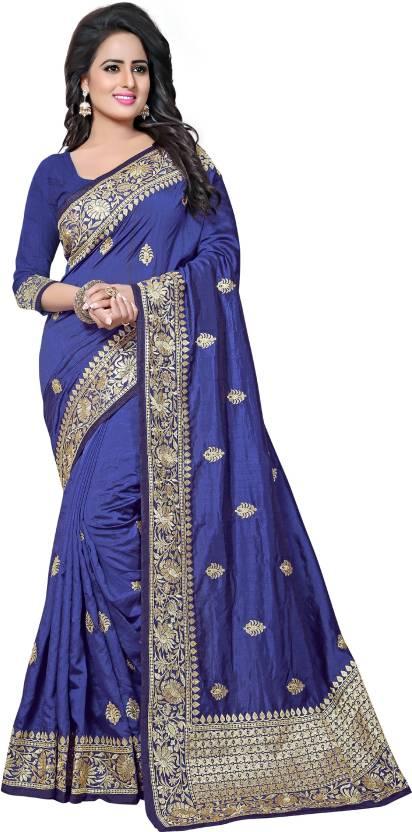 b7de85eecfe329 Buy Geet Fashion Solution Embroidered Fashion Pure Silk Blue Sarees ...