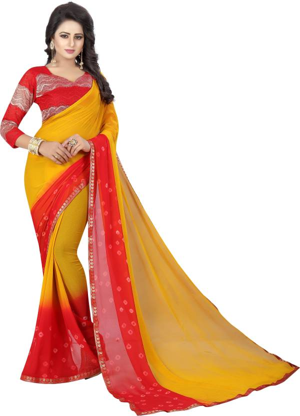 3f84615f8a Buy Yashika Printed Daily Wear Chiffon Red, Yellow Sarees Online ...
