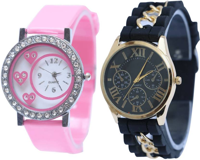 Neutron New Formal Love Valentine Pink And Black Color Combo Watch