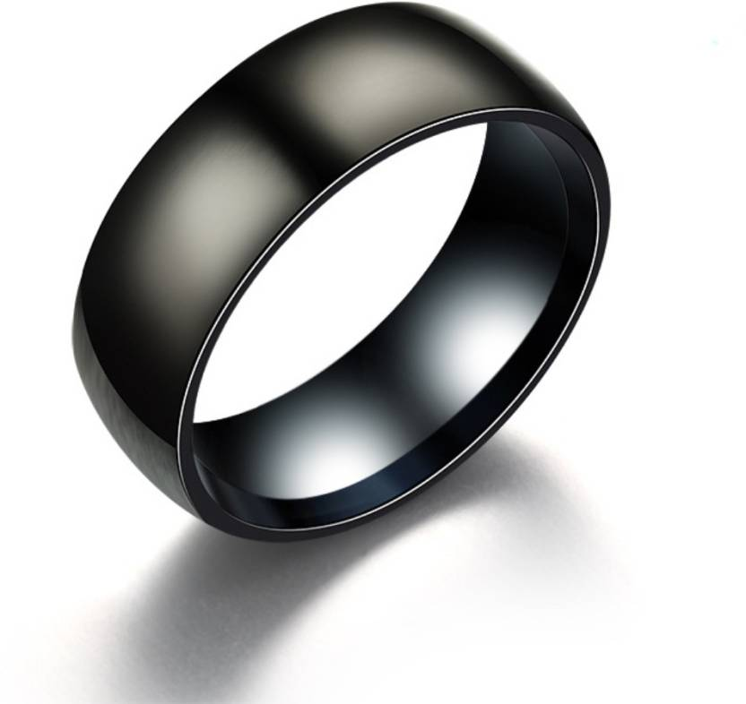 Daluci Black Titanium Ring Men Matte Finished Classic Engagement Jewelry Ring For Male Party Wedding Band Metal Titanium Plated Palm Ring
