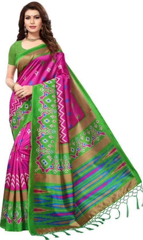 865cc1ef8ec99 Varni fashion Printed Ikkat Cotton Silk Saree (Pink