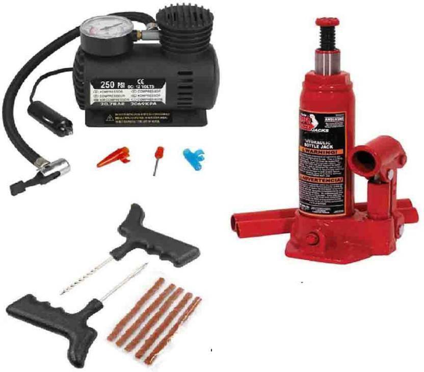INDMART 2 Ton Hydraulic Car Jack + Car Compressor + Tyre Punture