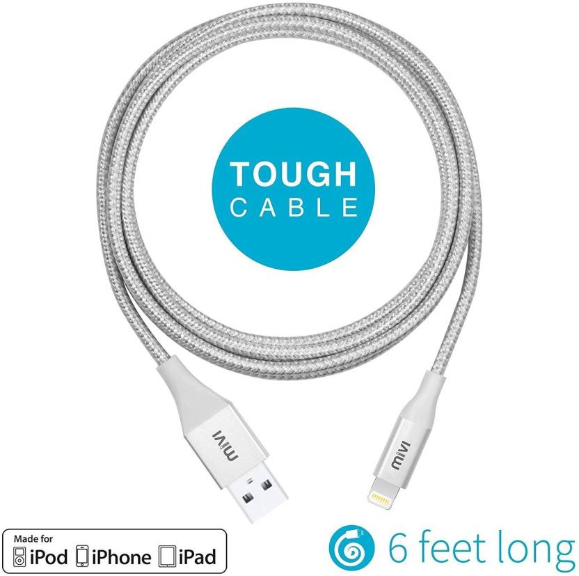 Mivi Mfi Certified 6ft Long Nylon Braided Original Tough Lightning Cable