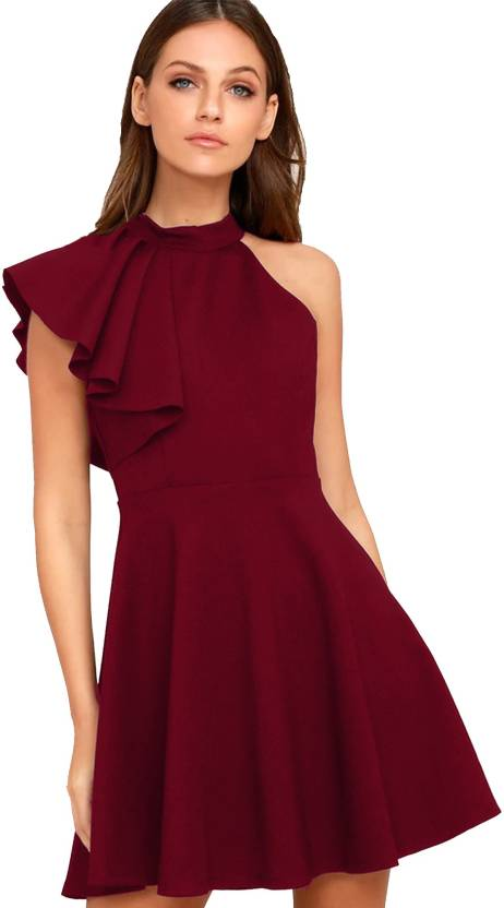 1c0d2c057e58 Addyvero Women s Skater Maroon Dress - Buy Rosewood Maroon Addyvero Women s  Skater Maroon Dress Online at Best Prices in India