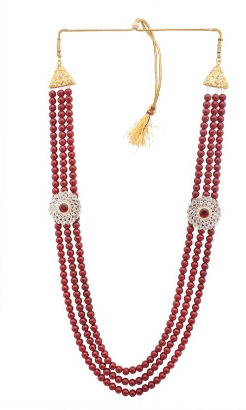 97339b804d4e4 Sanjog Embellished Maroon Colour Premium Long Pearl Jewellery ...