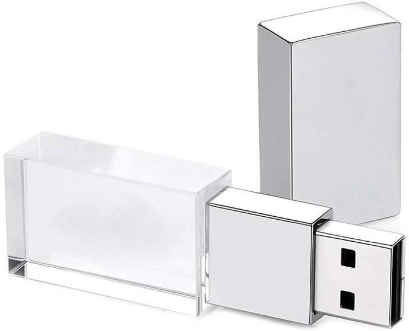 cabf01db99b9 nexShop Crystal Transparent Glass USB Flash Drive 4 GB Pen Drive (Silver)