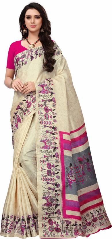 92ccc9ece7 Buy Wama Fashion Printed Fashion Khadi, Silk Beige Sarees Online ...
