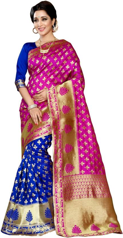af7afc3696a2ed Winza Designer Self Design Kanjivaram Banarasi Silk Saree (Pink