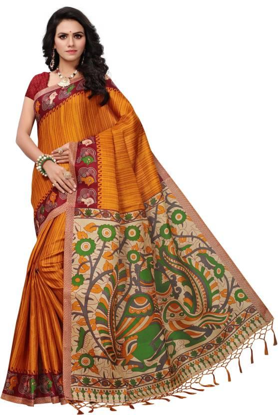 e8c9653ba3 Buy Wama Fashion Printed Bhagalpuri Khadi, Silk Mustard Sarees ...