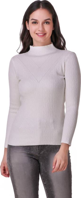 60e5996e12 Christy World Solid High Neck Casual Women s White Sweater - Buy ...