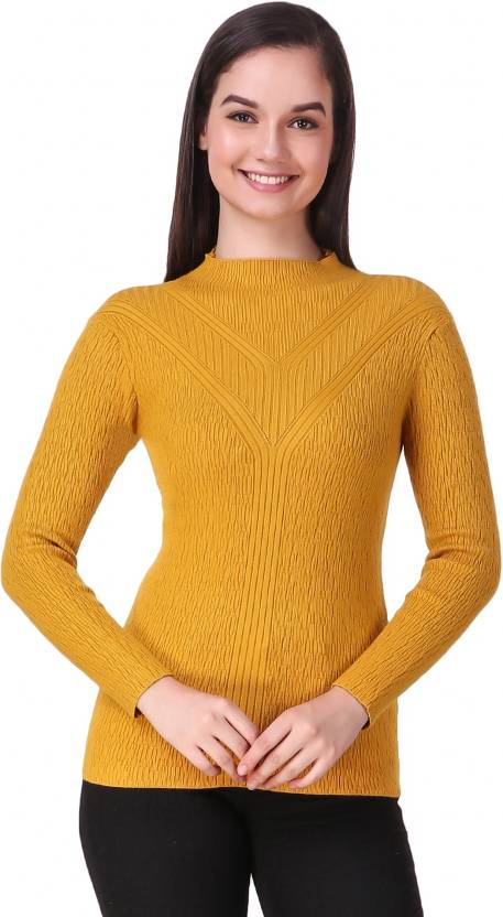 c27c4b0348 Christy World Solid High Neck Casual Women s Yellow Sweater - Buy Christy  World Solid High Neck Casual Women s Yellow Sweater Online at Best Prices  in India ...