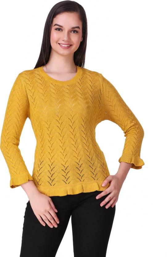 61952ac65c ... Design Round Neck Casual Women s Yellow Sweater - Buy Christy World  Self Design Round Neck Casual Women s Yellow Sweater Online at Best Prices  in India ...