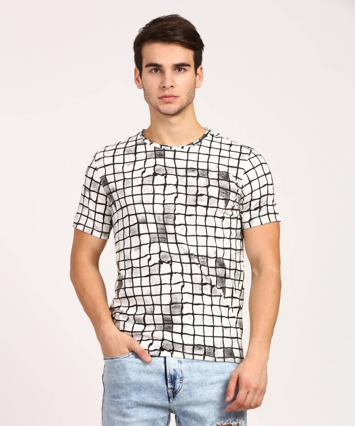 13b9b8ef22 V DOT BY VAN HEUSEN Printed Men Round Neck White T-Shirt - Buy V DOT ...