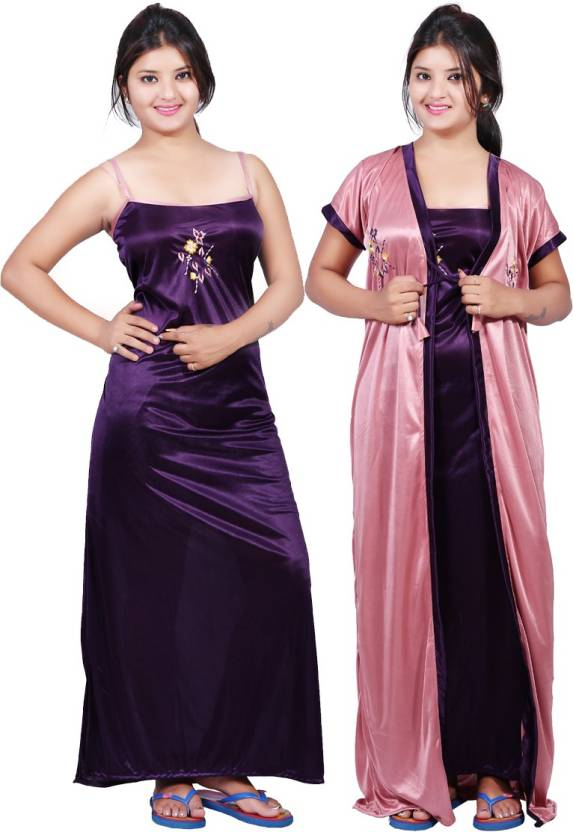 cef4f5138c1 Mahaarani Women Nighty with Robe - Buy Purple Mahaarani Women Nighty ...