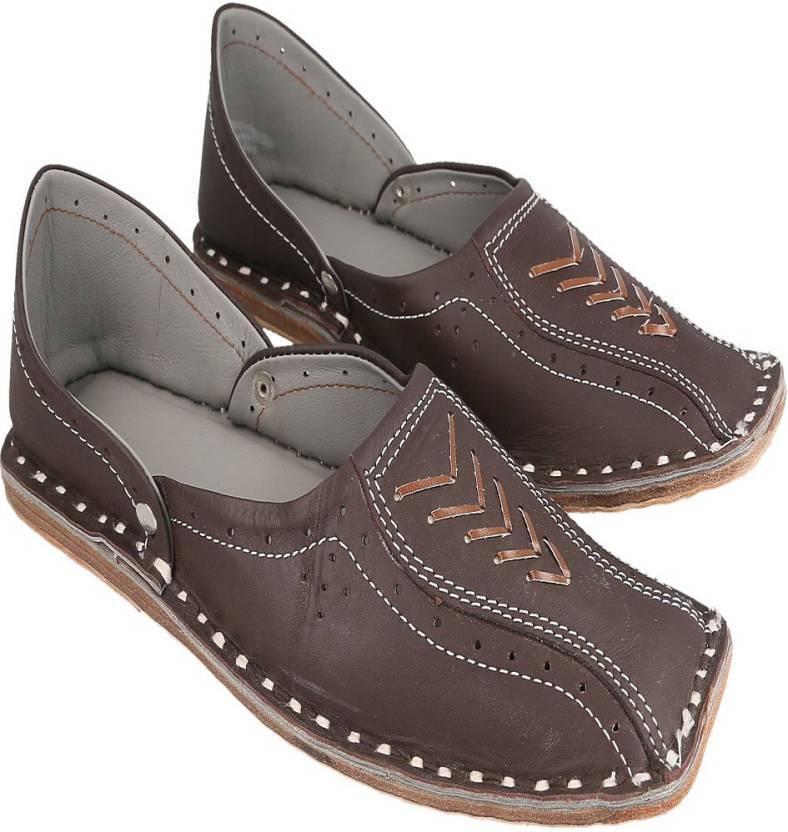 3a5d9bcb9 Ashish Enterprises Men Rajasthani Handmade Ethnic Juti Brown Leather Mojari  Shoe 201 Jutis For Men (Brown)