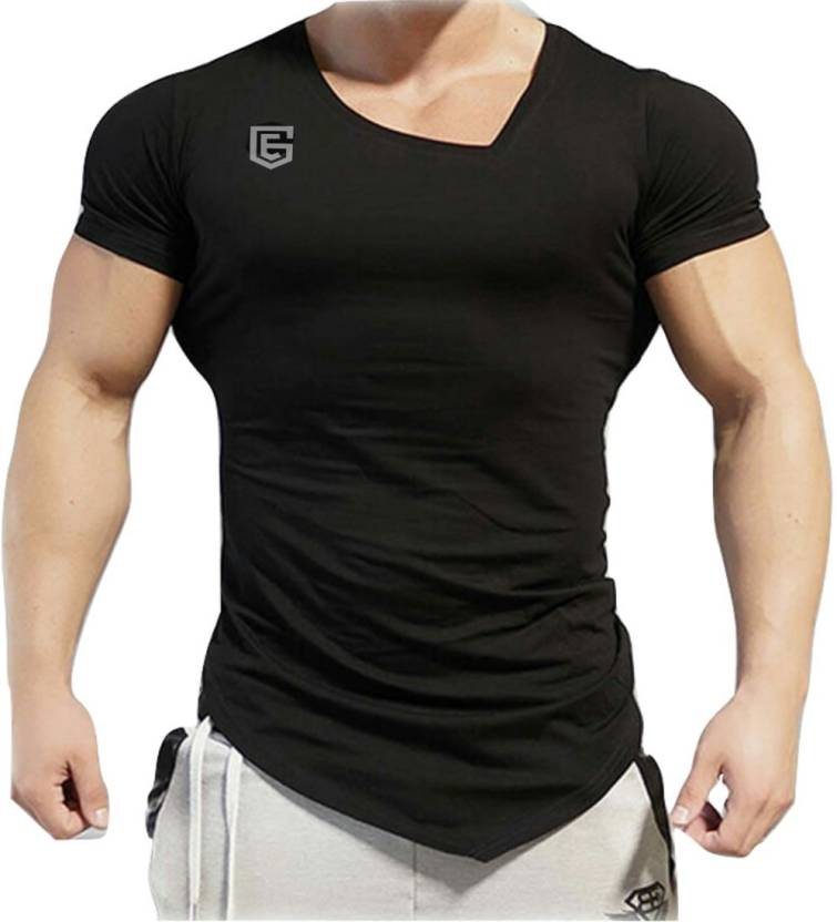 fd02b3883 EG Solid Men s Scoop Neck Black T-Shirt - Buy Black EG Solid Men s Scoop  Neck Black T-Shirt Online at Best Prices in India