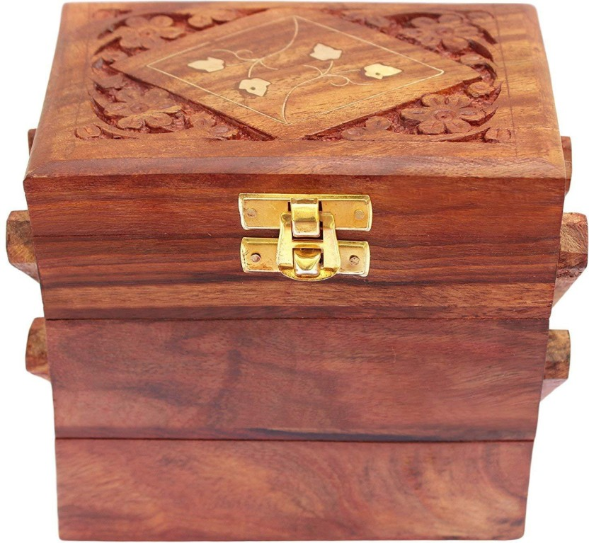 Red Chest Storage Drawer Box Jewelry Boxes Distressed Wood Organizer Case Home