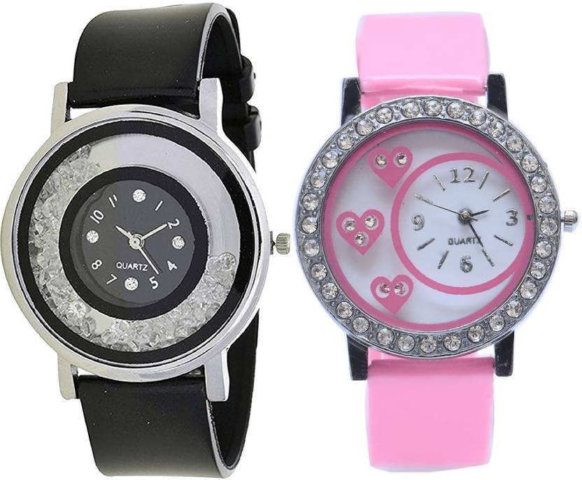 Neutron New Gift Love Valentine Black And Pink Color Combo Watch