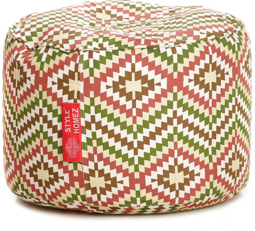 Awe Inspiring Style Homez Large Round Cotton Canvas Ikat Printed Bean Bag Machost Co Dining Chair Design Ideas Machostcouk