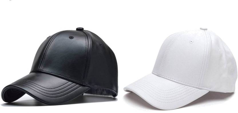 d11220f7cf3 ALAMOS Combo Stylish Black   White Leather baseball Cap Cap (Pack of 2)