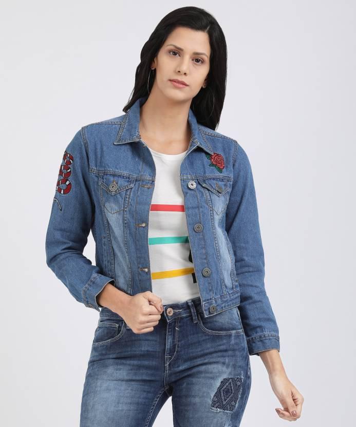 halpa hinta aina suosittu kuponkikoodit People Full Sleeve Solid Women's Denim Jacket